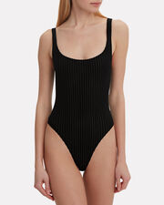 Ribbed Velvet Bodysuit, BLACK, hi-res