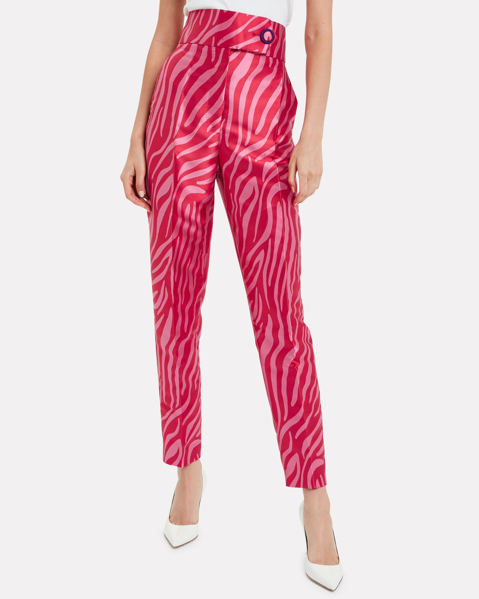 Zebra Jacquard Tapered Pants, MULTI, hi-res