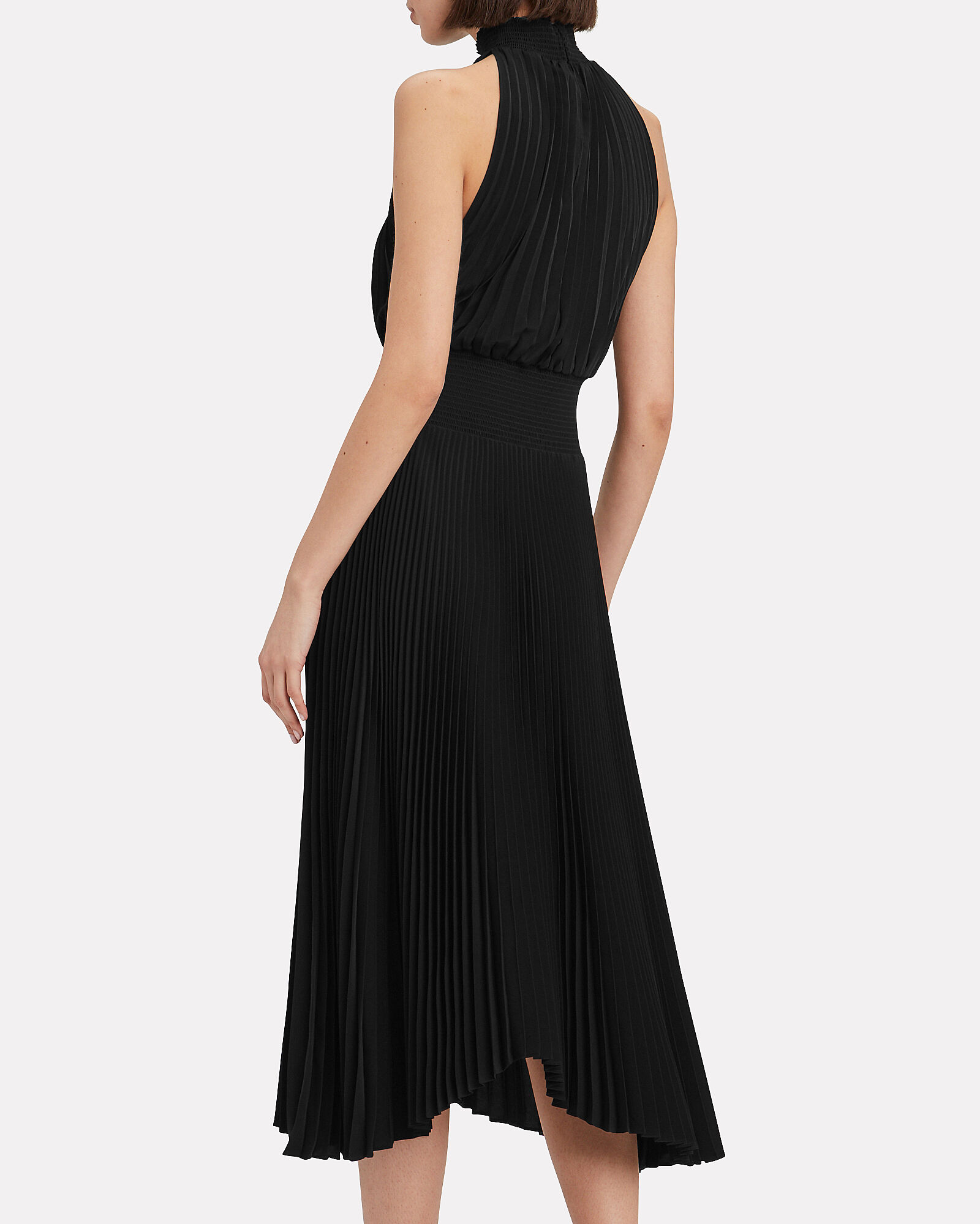 Renzo Pleated Midi Dress, BLACK, hi-res
