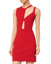 Cutout Knit Mini Dress, RED, hi-res
