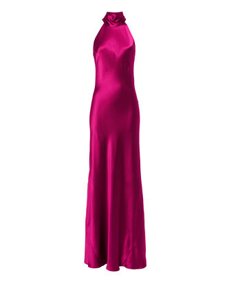 Sash Neck Satin Gown, PINK-DRK, hi-res