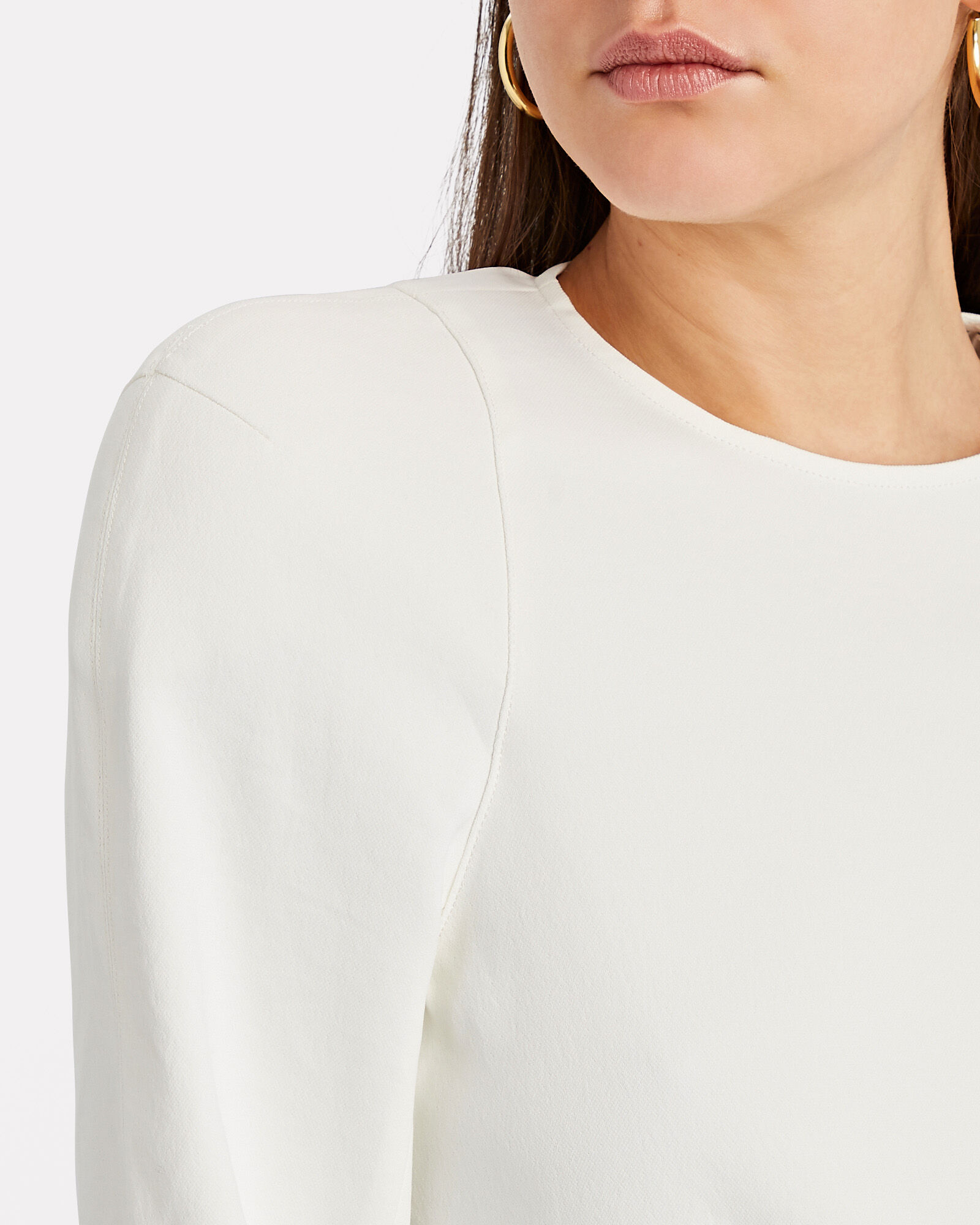 Chalky Puff Sleeve Blouse, WHITE, hi-res