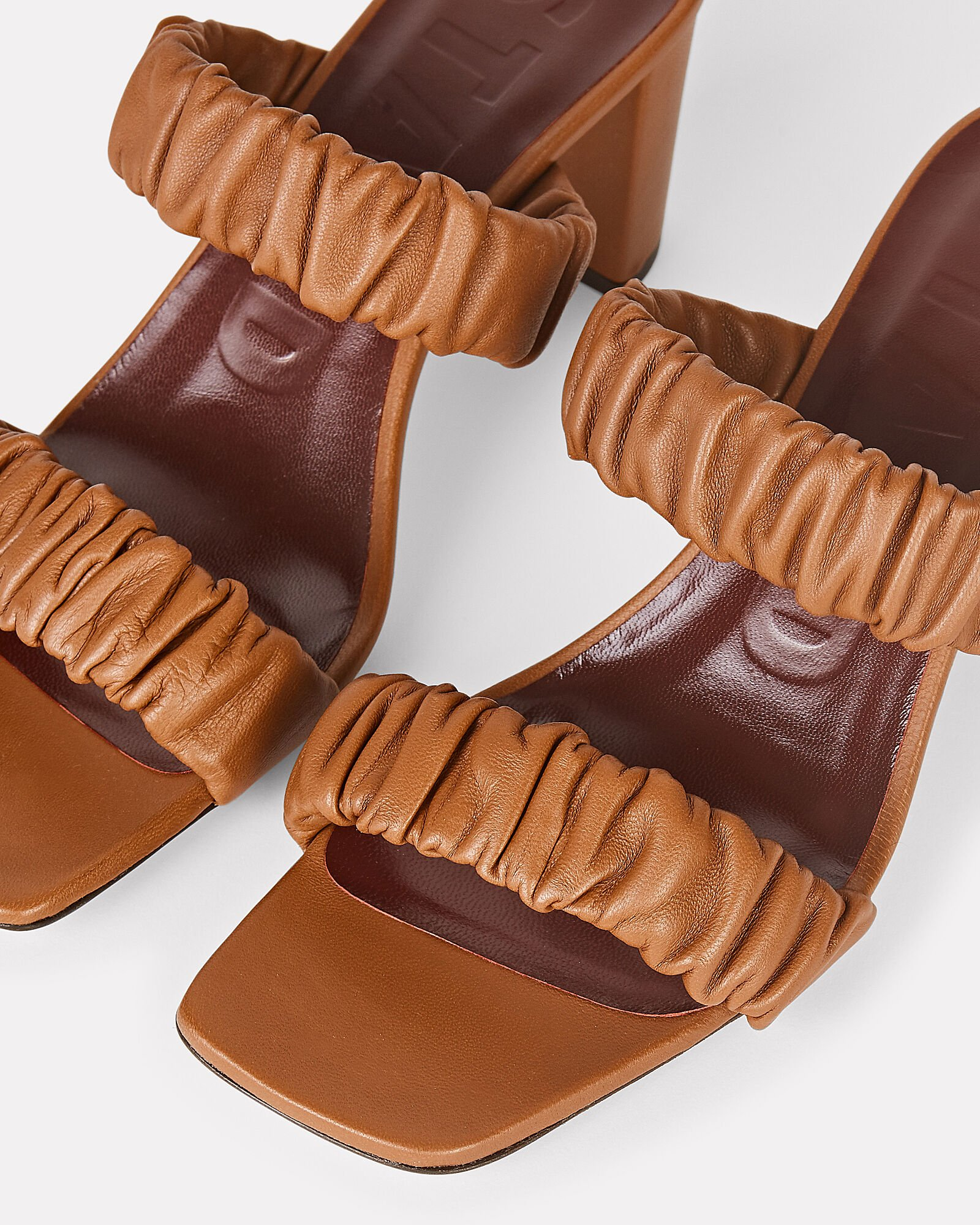 Frankie Leather Slide Sandals, BROWN, hi-res