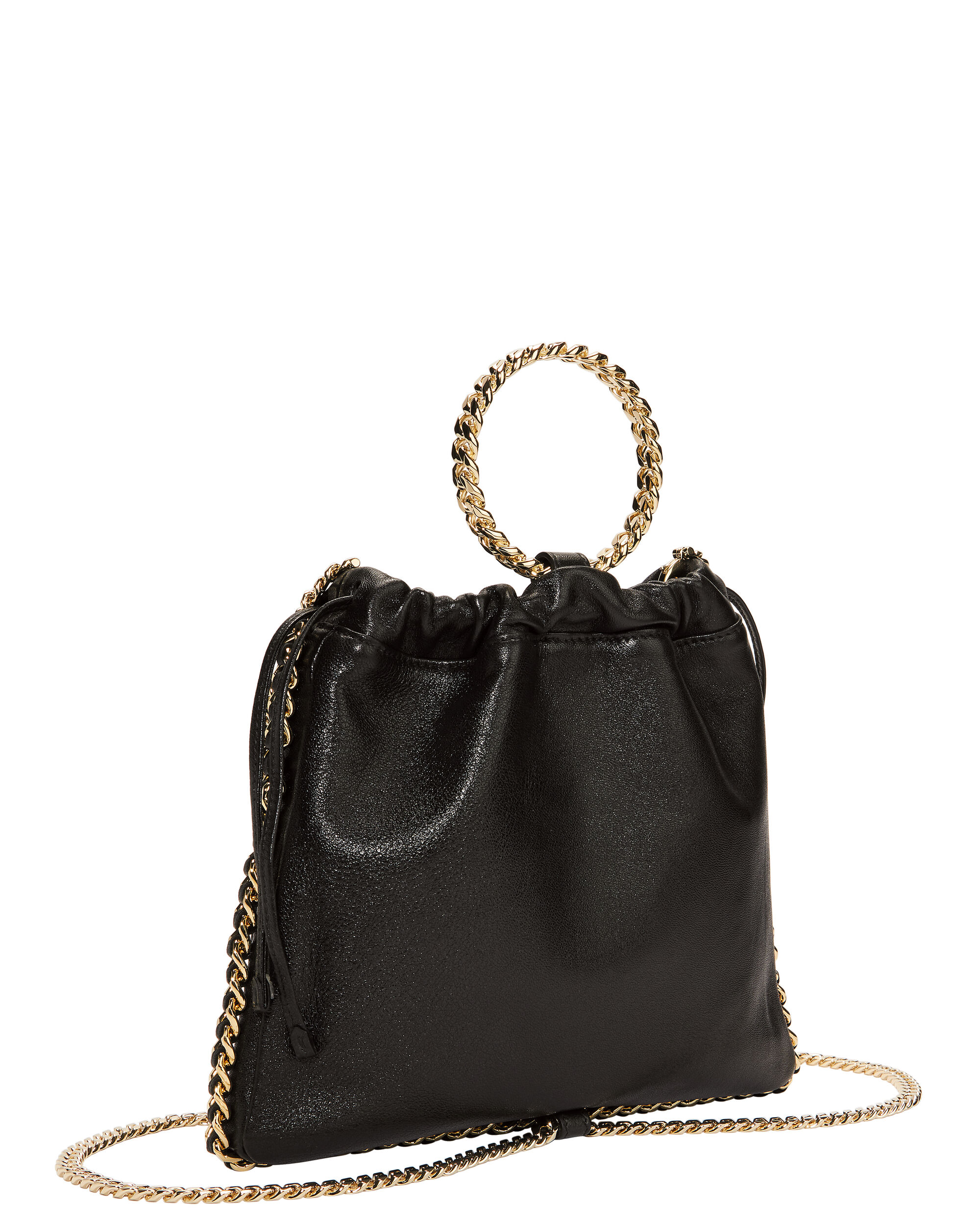 Black Leather B-Link Bracelet Backpack, BLACK, hi-res