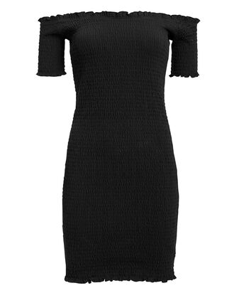 Carmen Smocked Mini Dress, BLACK, hi-res