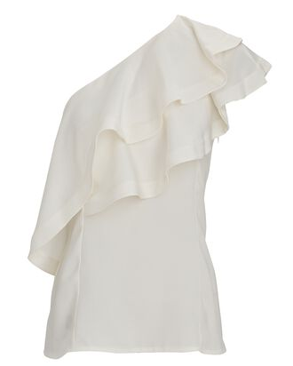 Ruffled One-Shoulder Top, IVORY, hi-res