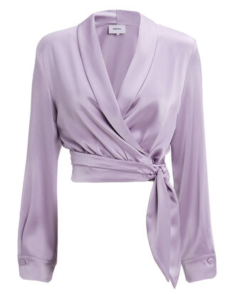 Salome Satin Wrap Crop Top, PURPLE-LT, hi-res