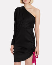 Neva Ruched Silk One-Shoulder Dress, BLACK, hi-res