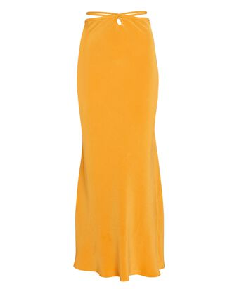 Silk Tie-Waist Midi Skirt, ORANGE, hi-res