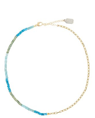 Beaded Chain-Link Necklace, BLUE/GOLD, hi-res