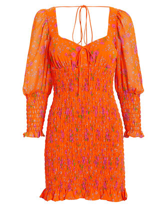 Peony Smocked Dress, ORANGE/FLORAL, hi-res