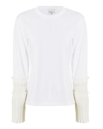 Pleated Cuff Shirt, WHITE, hi-res