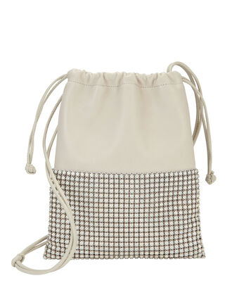 Ryan Mini Rhinestone Dust Bag, WHITE, hi-res