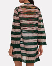 Striped Lurex Green And Pink Cardigan, GREEN, hi-res