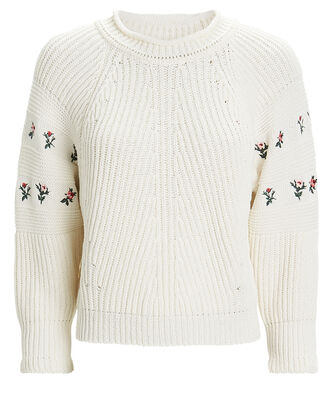Floral-Embroidered Knit Sweater, IVORY, hi-res