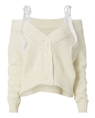 Cashmere-Blend Ribbon Tie Cardigan, WHITE, hi-res