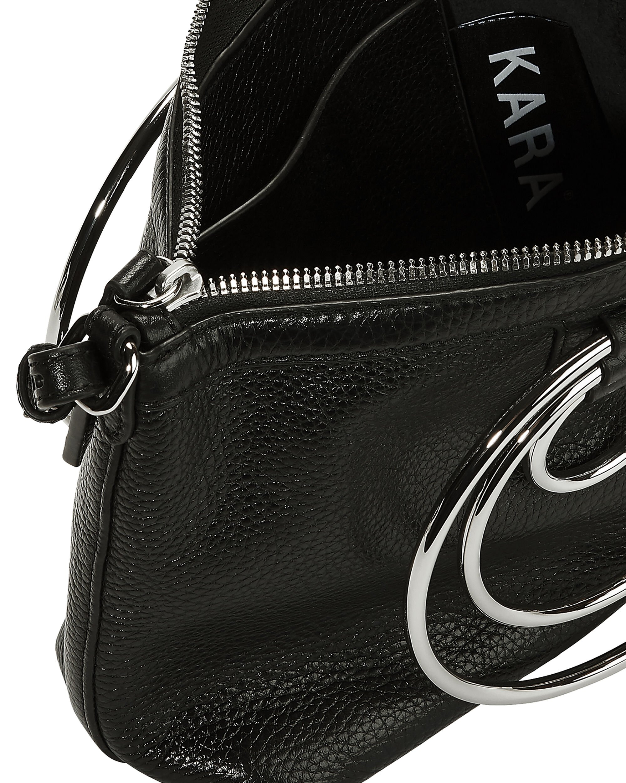 Multi Ring Leather Pouch Bag, BLACK, hi-res