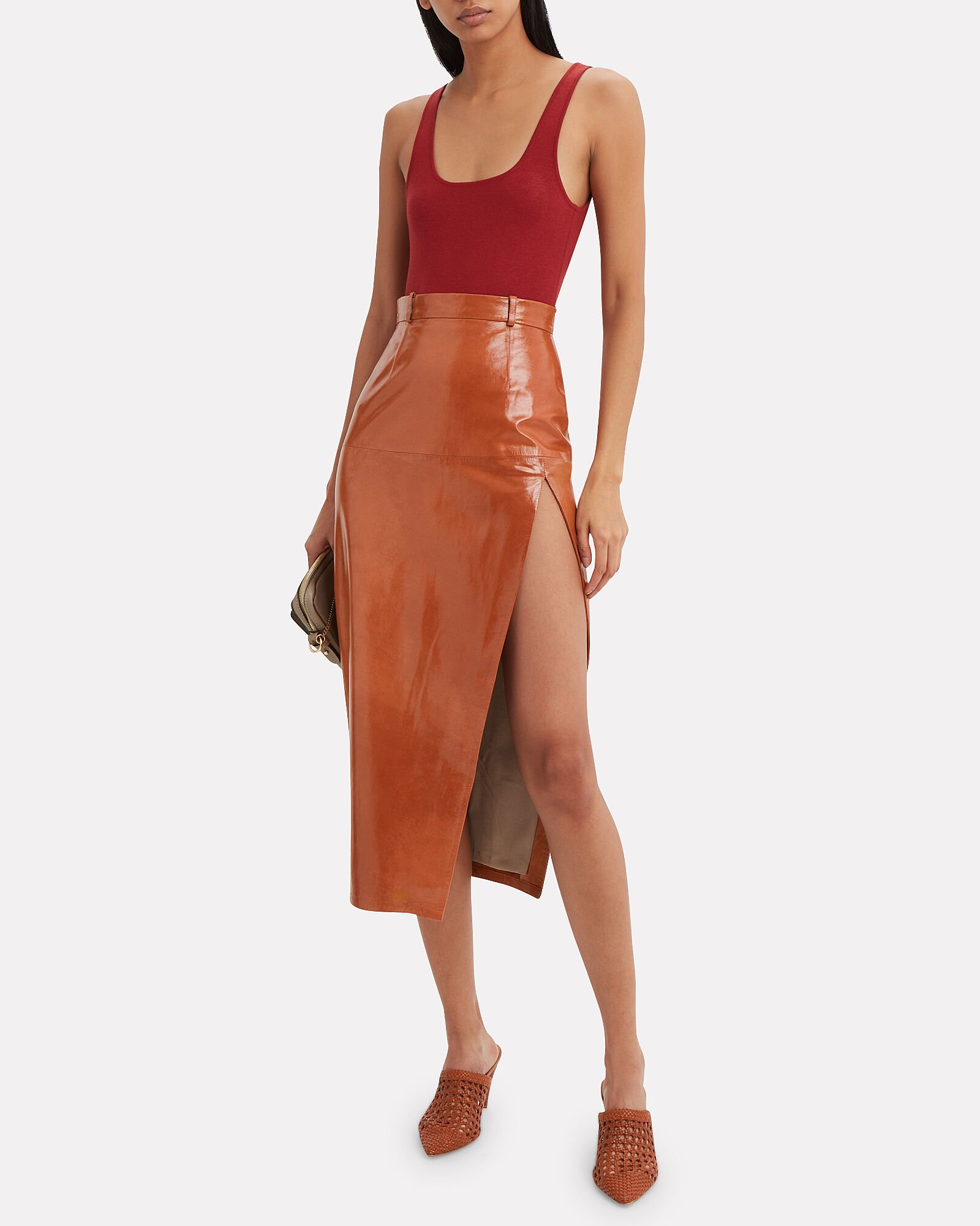Red Patent Leather Midi Skirt, RED, hi-res