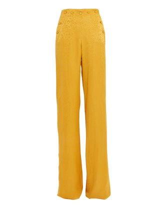 Leopard Embossed Satin Trousers, MARIGOLD, hi-res
