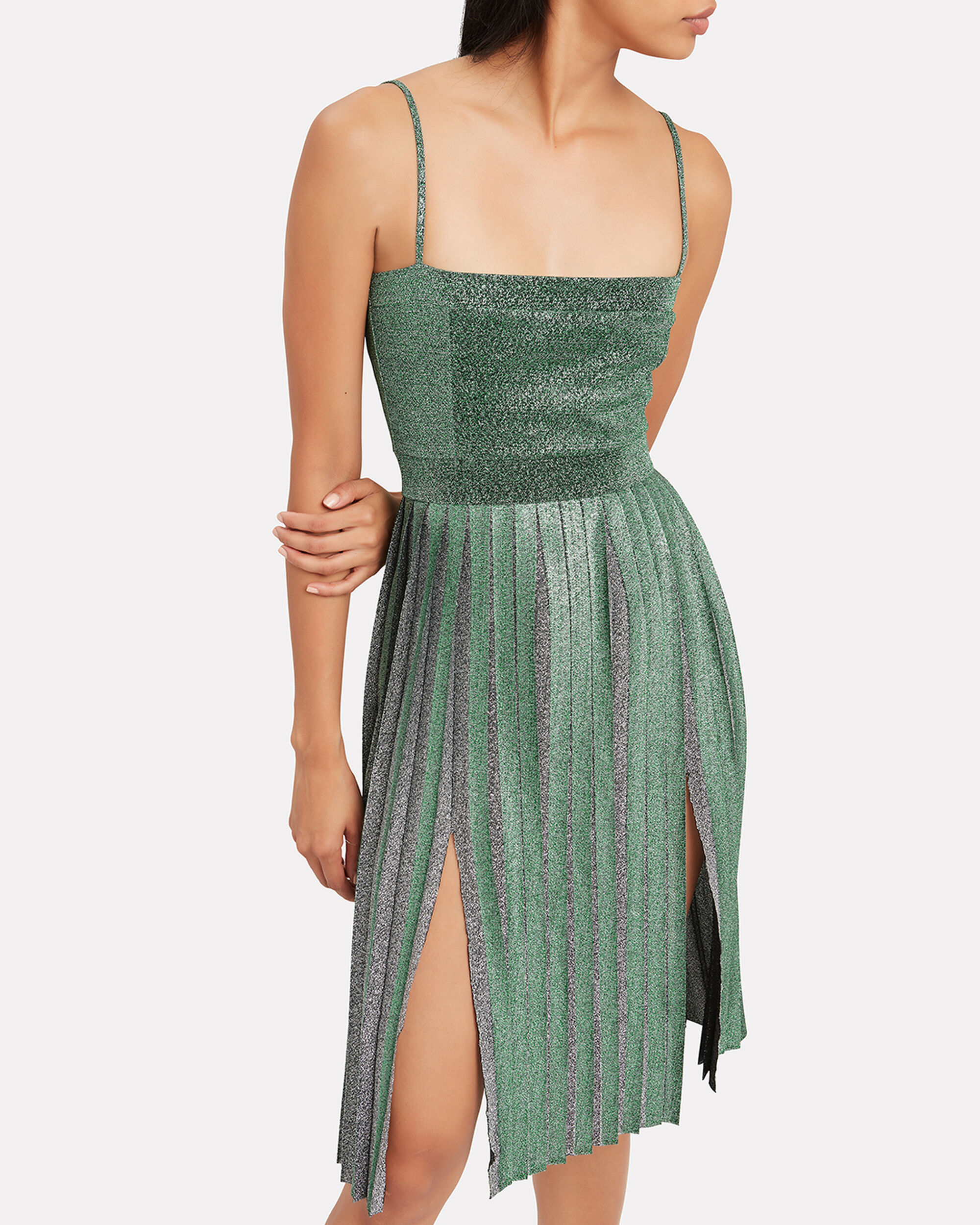 Janelle Pleated Dress, GREEN, hi-res