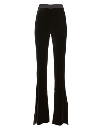 Velvet High-Rise Flared Pants, BLACK, hi-res