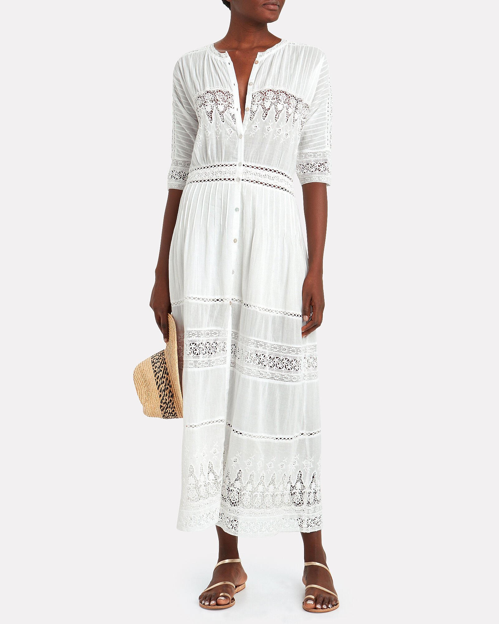 Beth Lace-Trimmed Cotton Dress, WHITE, hi-res