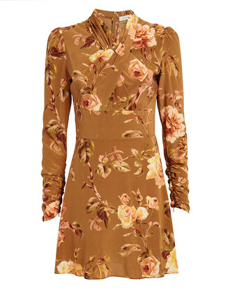 Resistance Silk Twist Mini Dress, CAMEL/FLORAL, hi-res