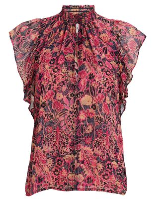 Hayley Floral Chiffon Top, MULTI, hi-res