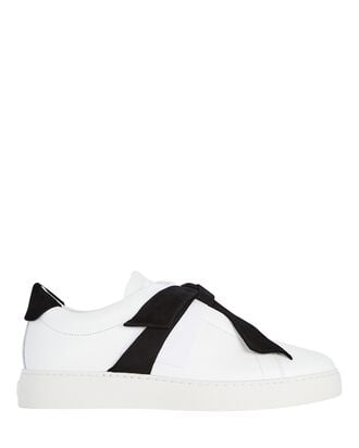 Clarita Low-Top Bow Sneakers, WHITE, hi-res