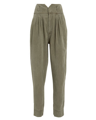 Harem Pleated Military Pants, ARMY GREEN, hi-res