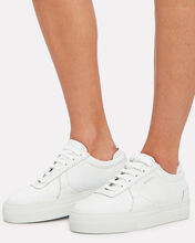 Platform Low-Top Leather Sneakers, WHITE, hi-res