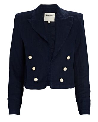 Dolly Cropped Double-Breasted Linen Blazer, NAVY, hi-res