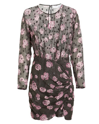 Adelino Plumetis Floral Dress, GREY/FLORAL, hi-res
