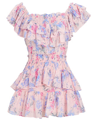 Fatima Floral Print Mini Dress, LIGHT PINK, hi-res