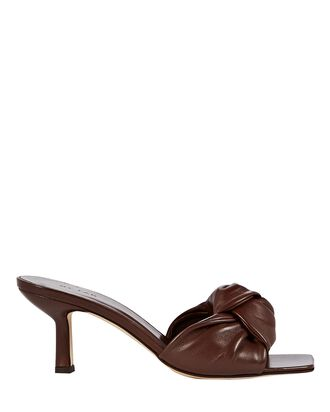 Lana Knotted Leather Slide Sandals, BROWN, hi-res