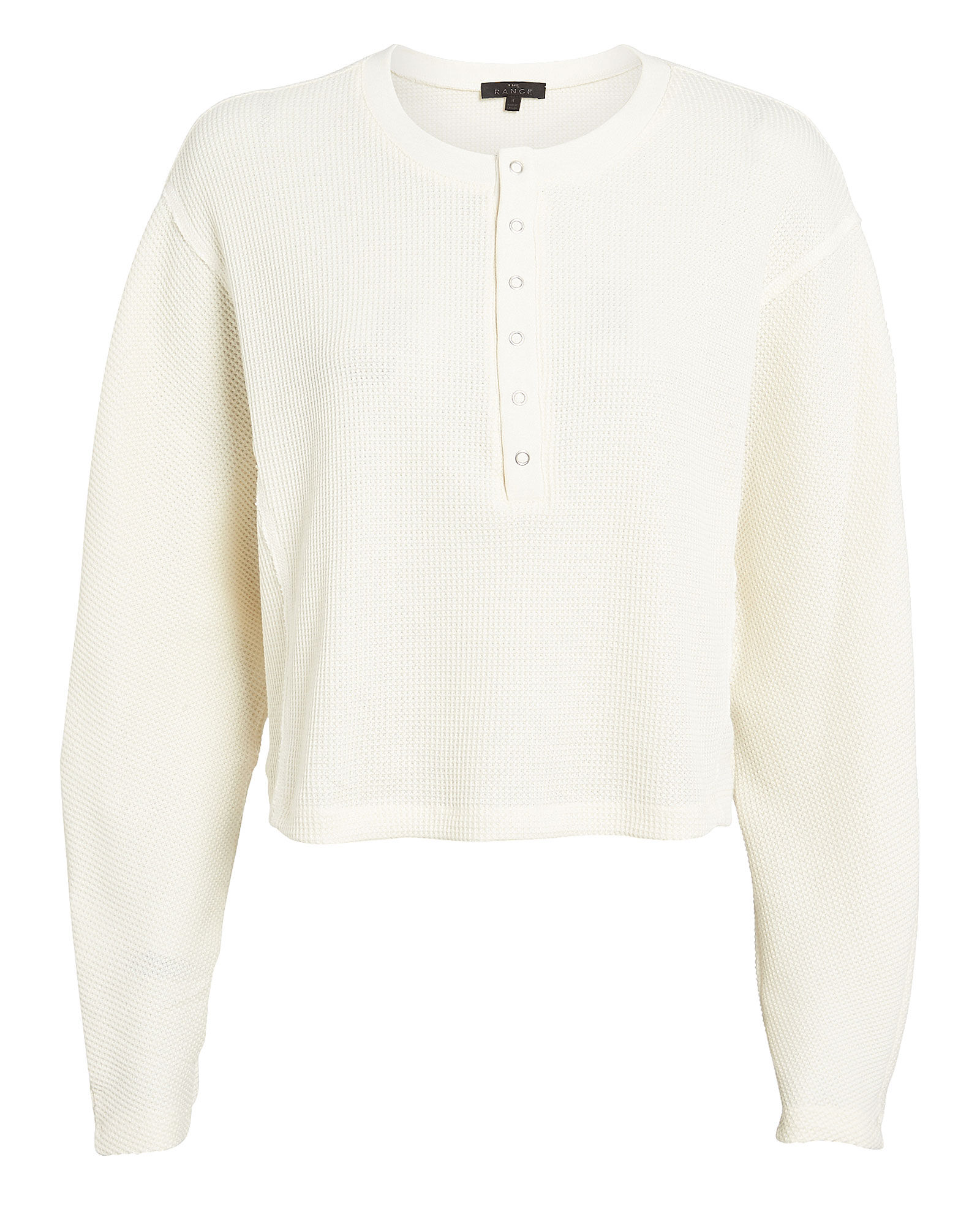 Waffle Knit Loose Henley, WHITE, hi-res