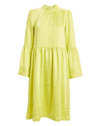 Pil Satin Swing Dress, YELLOW, hi-res