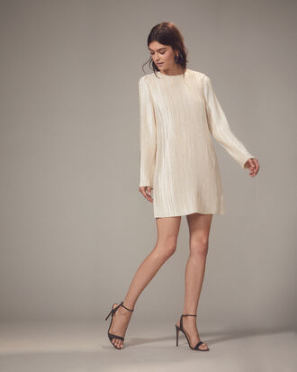 Champagne Plissé Pleat Mini Dress, CHAMPAGNE GOLD, hi-res