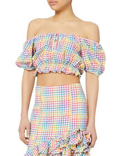 Rainbow Bardot Crop Top, PAT-CHECK 2, hi-res