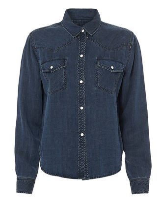 Remi Western-Inspired Denim Shirt, DENIM-DRK, hi-res
