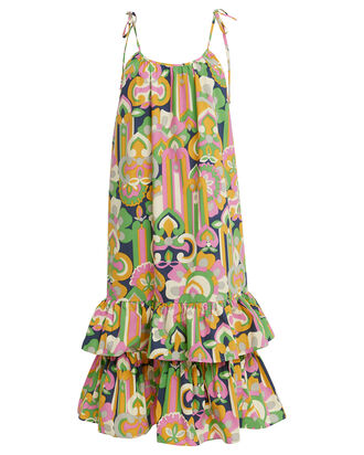 Simps Sleeveless Tiered Dress, GREEN/PINK ABSTRACT, hi-res