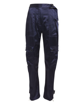 Satin Utility Pants, NAVY, hi-res