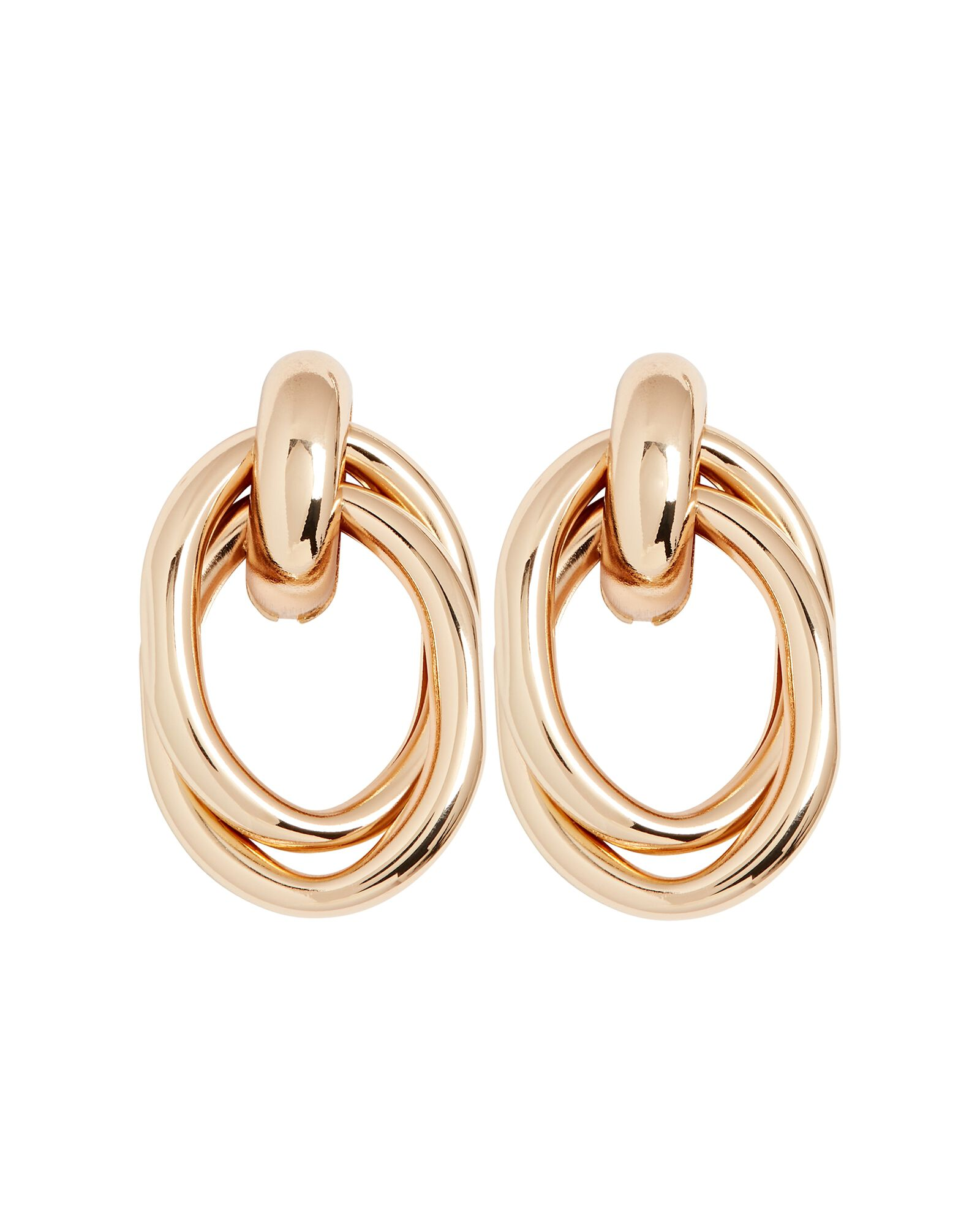 Sadie Interlocking Hoop Stud Earrings, GOLD, hi-res