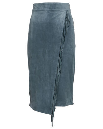 Sanoe Fringed Suede Midi Skirt, GREEN-LT, hi-res