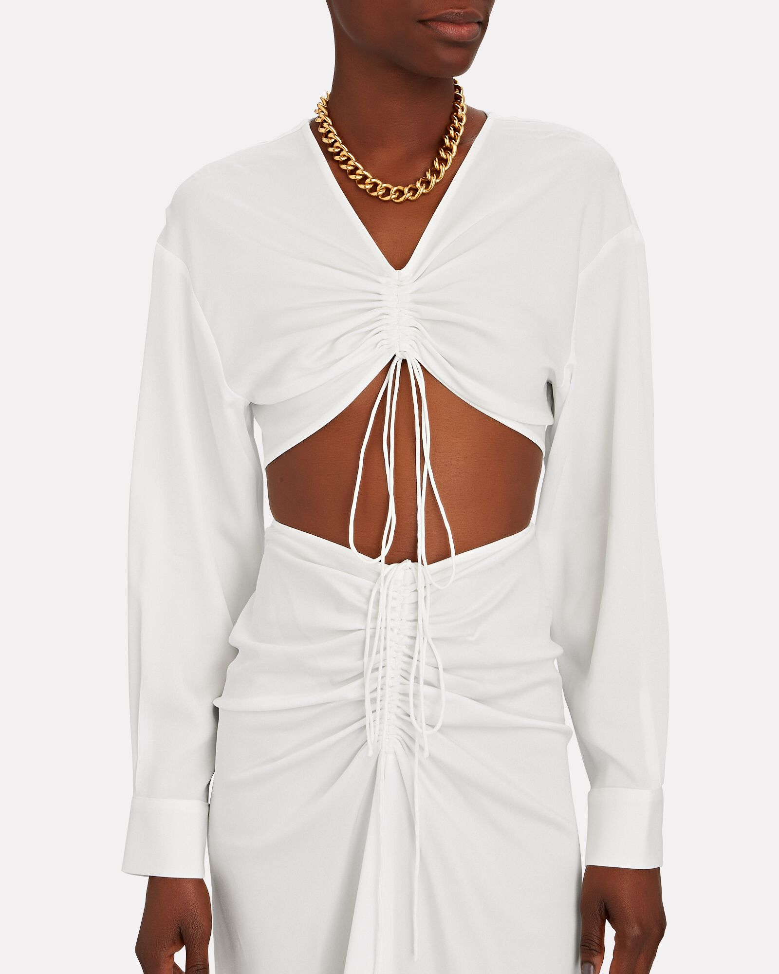 Ruched Cropped Shirt, WHITE, hi-res