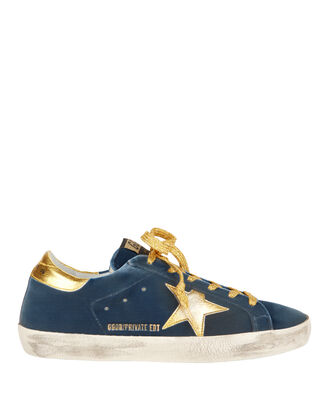 Superstar Blue Velvet Gold Star Sneakers, NAVY, hi-res