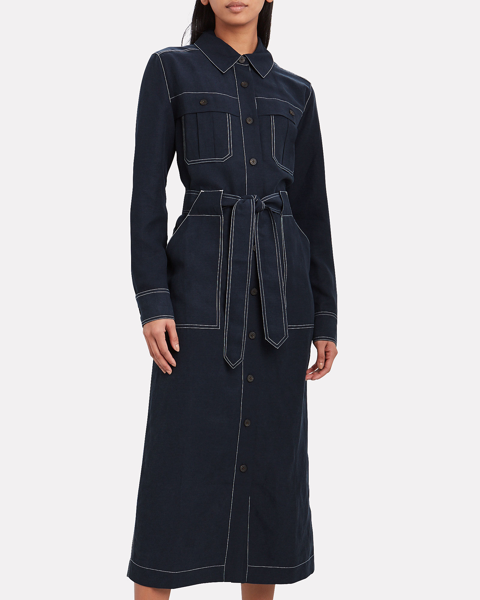 Juno Linen-Blend Shirt Dress, NAVY, hi-res