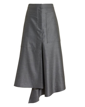 High Waist Draped Skirt, GREY, hi-res