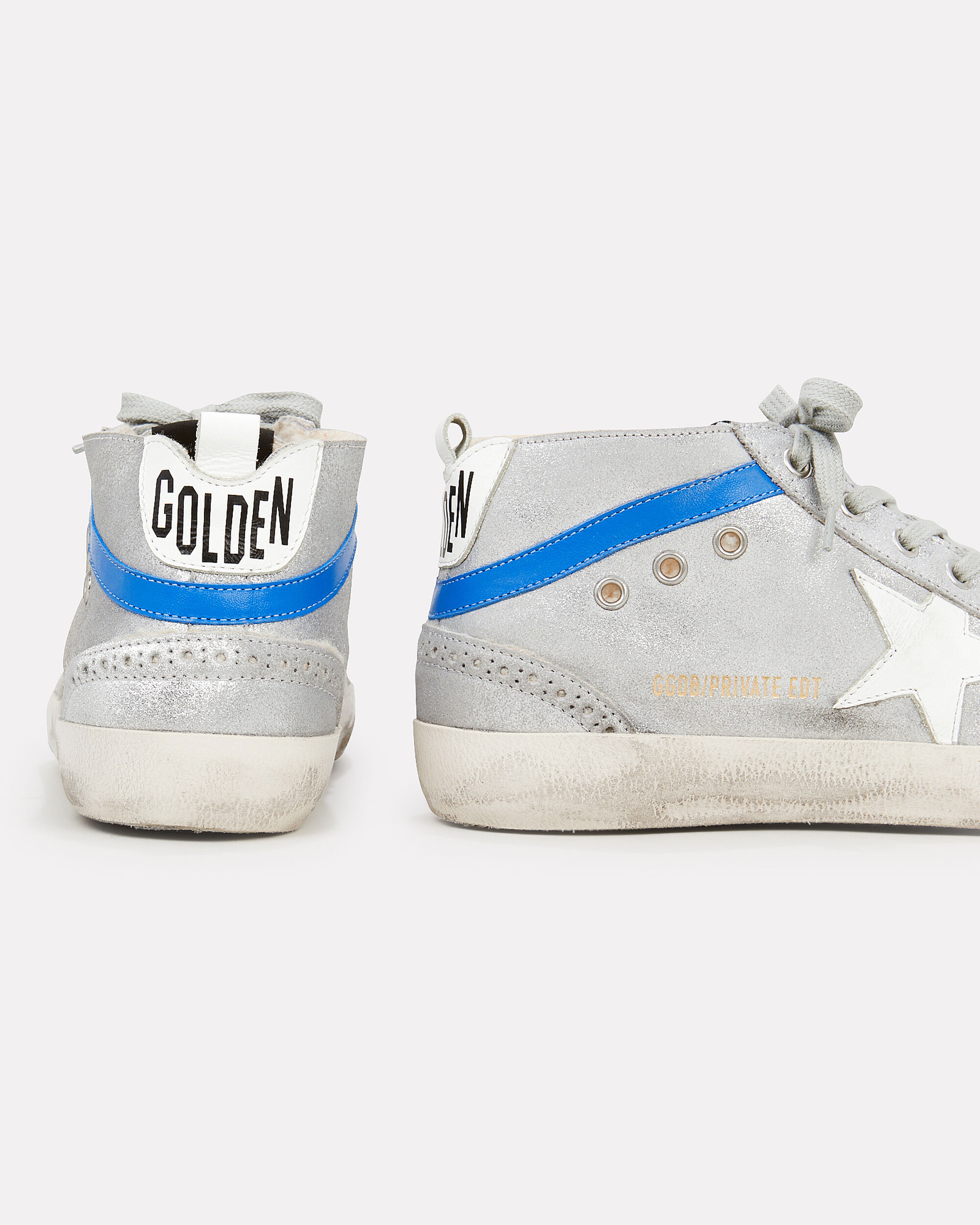 Mid Star Shearling Suede Silver Sneakers, SILVER/BLUE, hi-res