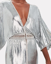 Crystal-Embellished Chainmail Dress, SILVER, hi-res